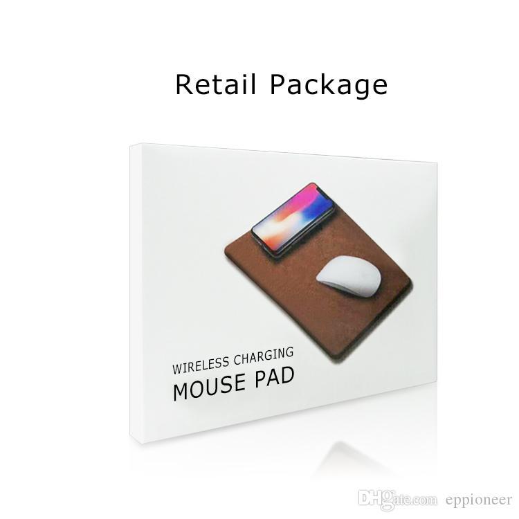 Qi Kablosuz Şarj Mouse Pad lüks deri materail cep telefonu şarj fare pad iphone X 8 artı Samsung s9 artı Smartphone