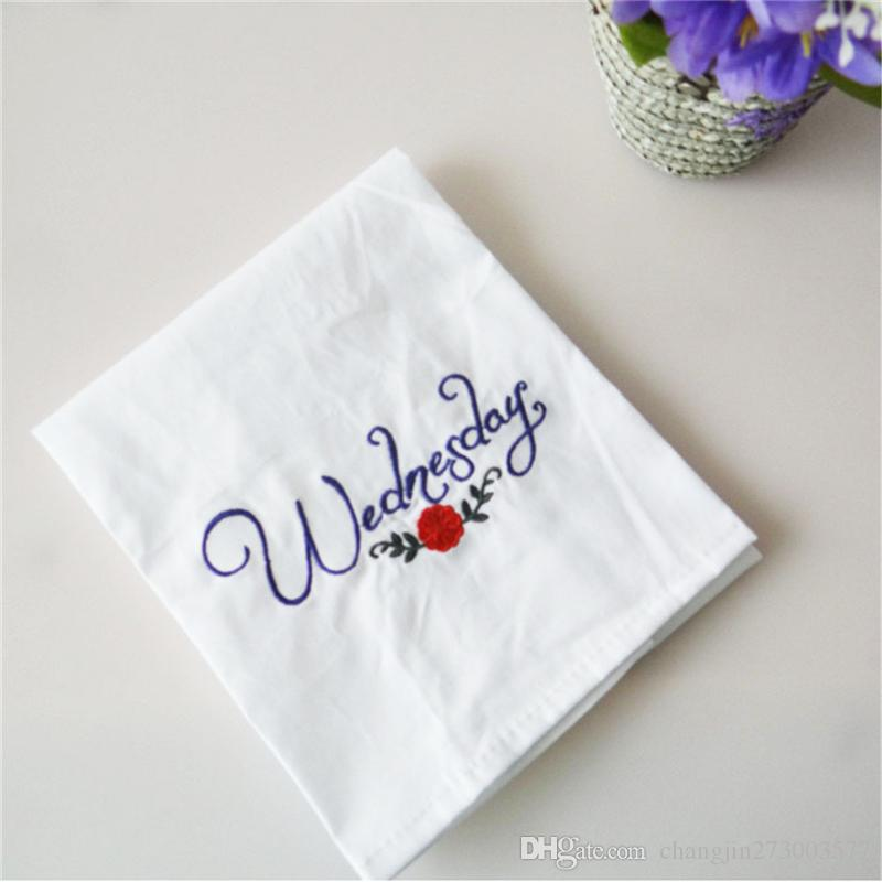New products from Monday to Sunday week series of small fresh style home cotton fabric embroidery napkin pad