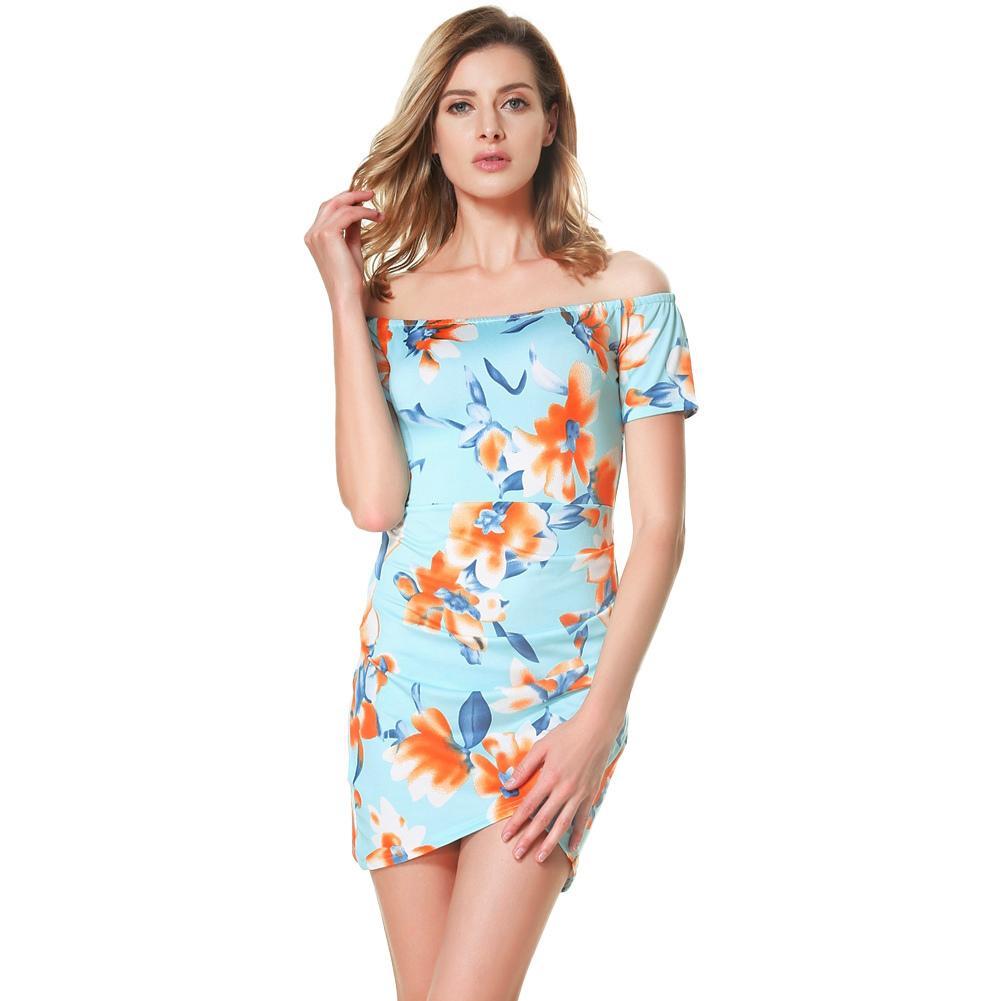53fd09cffe98 Women Floral Off The Shoulder Dress Slash Neck Ruched Vintage Wrap Dress  Short Sleeves Back Zipper Mini Summer Dress 2019 Blue Ball Dresses Purple  Dresses ...