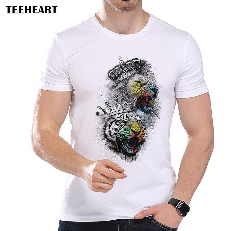 74bde58e The Great Kings. Crowned Lion And Tiger Ink & Color Funny Joke Men T Shirt  Tee Shirts With Designs R Shirt From Yuxin0003, $14.67| DHgate.Com