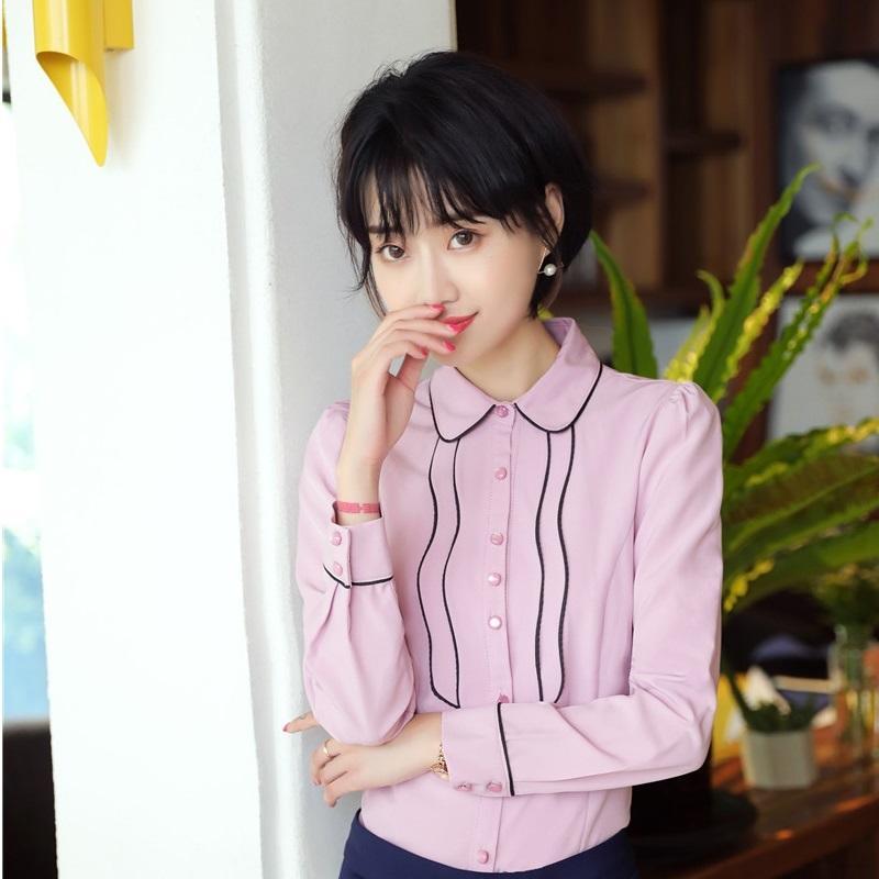 12ff5ac4e1c Compre Novedad Estilos De Uniformes De Color Rosa Ropa De Trabajo Blusas  Femeninas Camisas Para Mujeres De Negocios Ropa De Oficina Ropa De Mujer  Blusa De ...