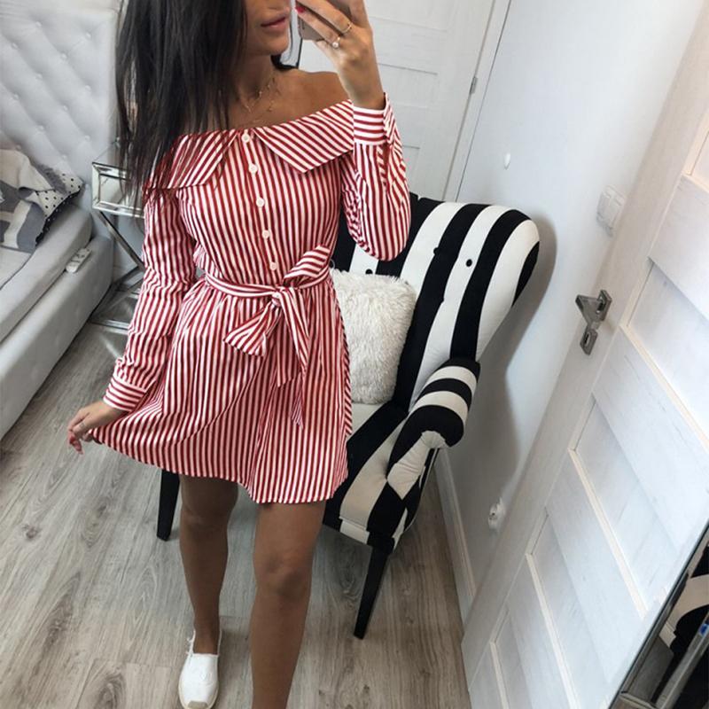 394d319be Compre Vestido De Rayas Con Hombros Descubiertos