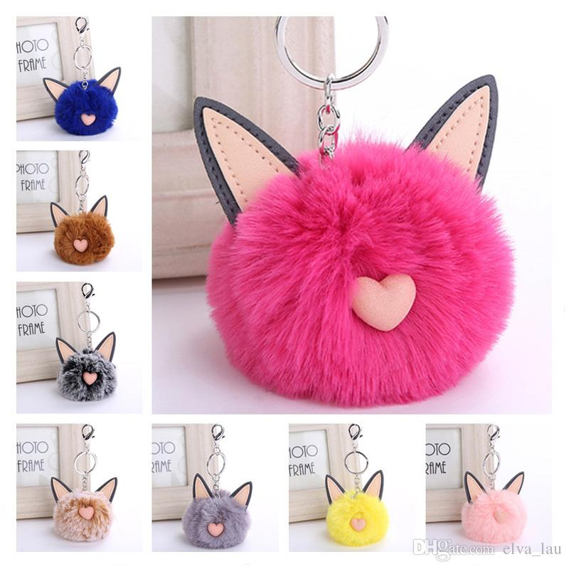 Wholesale Cat Ears Red Fur Pom Pom Keyring 16 Styles Love Heart Faux Rex  Rabbit Fur Fluffy Ball Car Key Chain Hanging Keyring Leather Key Ring  Unique ... 6faf104ad435
