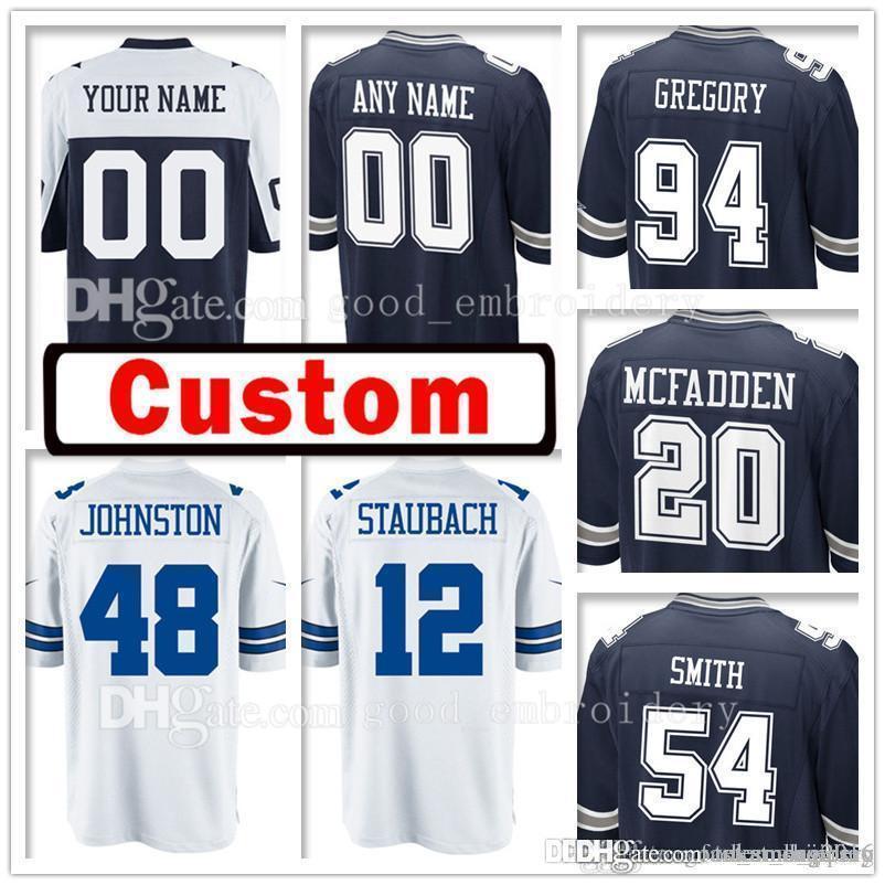 Custom Men s Dallas 20 Darren McFadden 48 Daryl Johnston Jersey Cowboys 54  Jaylon Smith 94 Randy Gregory 12 Roger Staubach Jerseys 90 DeMarcus  Lawrence 90 ... a0905a939