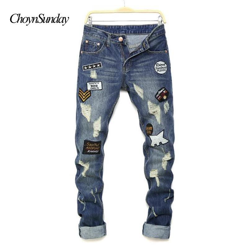 a9a2b1e59da8b Compre 2018 ChoynSunday Nuevo Hombre Jeans Pantalones Rodillas Agujeros  Parches Carta Impresión Pantalones Vaqueros De Los Hombres De Alta Calidad  Hip Hop ...