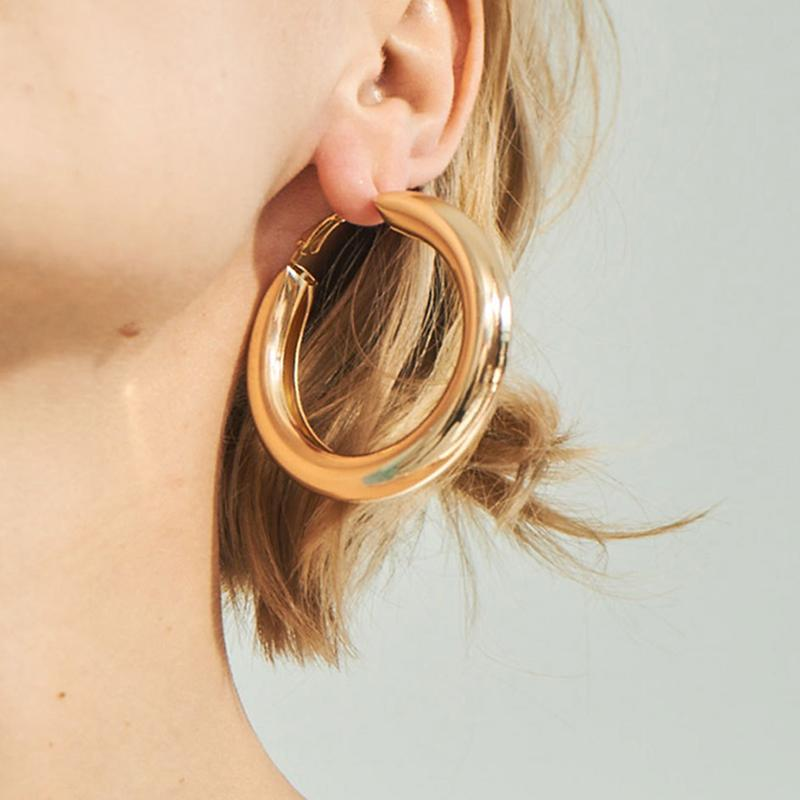 686c64871 2019 SRCOI 50 MM Big Gold Hoops Earrings Minimalist Thick Tube Round Circle  Rings Earrings For Women Zinc Alloy Trendy Hiphop Rock From Goodwatchgood,  ...