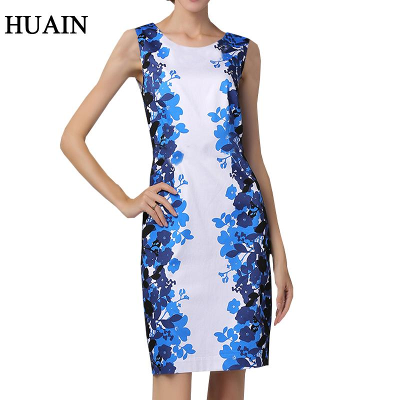 c921c96e33 Elegant Women Dress Women Summer 2018 New Sleeveless Printed Fitness Pencil  Dress Female European Style Office Ladies Clothing Party Dresses Junior  Short ...