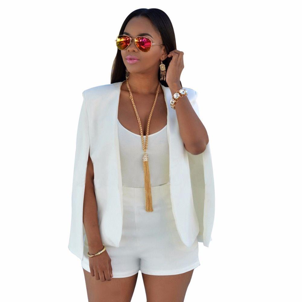 Compre Chaqueta De Otoño Mujer De Negocios Delgado Largo Cabo Blazer Abrigo Mujer  Capa Cabo OL Traje Chaqueta De Abrigo Elegante Outwear Blanco Negro S930 A  ... 3553b7f8bd78