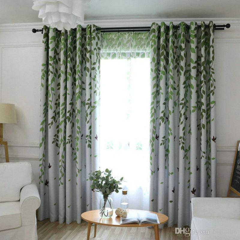 2019 Blackout Curtain Leaves Birds Printed Drapes For Living Room Bedroom  Kitchen Balcony Pastoral Fresh Sheer For Window Decoration From Bigmum, ...