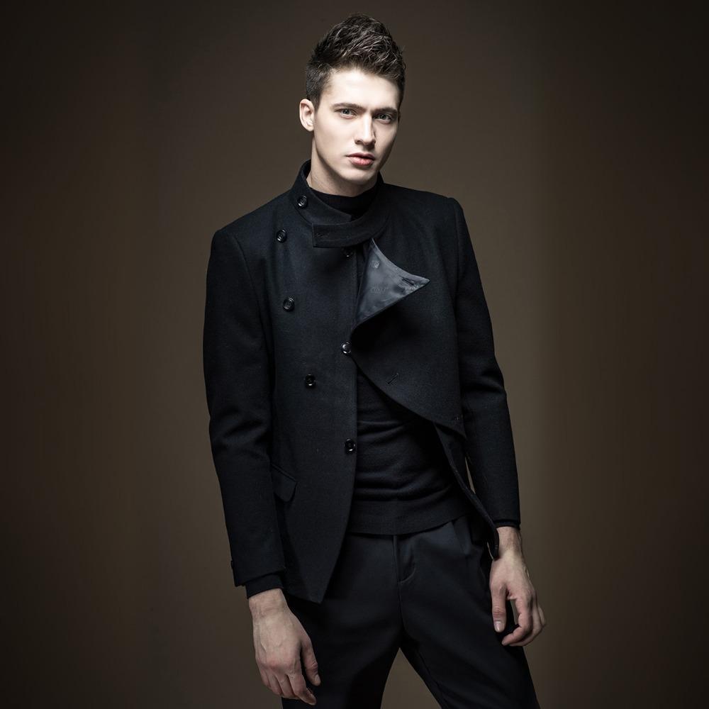 66f38b3eea7b Acquista Trasporto Libero Nuovo Autunno Uomo Abbigliamento Uomo Stile  Britannico Slim Lana Grigio Cappotto Nero Giacca Maschile Versione Coreana  Cappotto ...