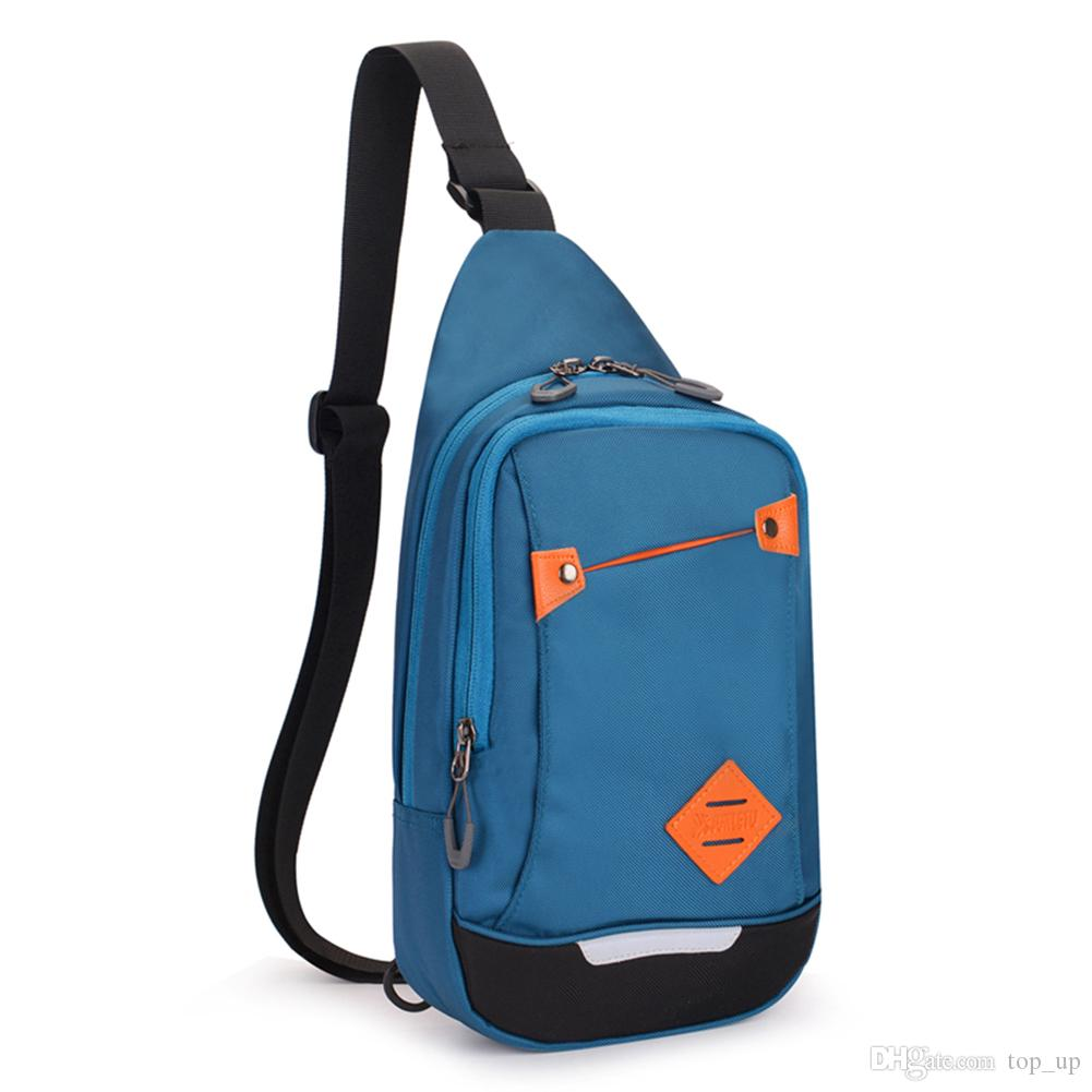 Women Men's Solid Color Water Resistant Nylon Chest Bag Sling Shoulder Backpack Cross Body Bags for Travel Hiking Camping Sports