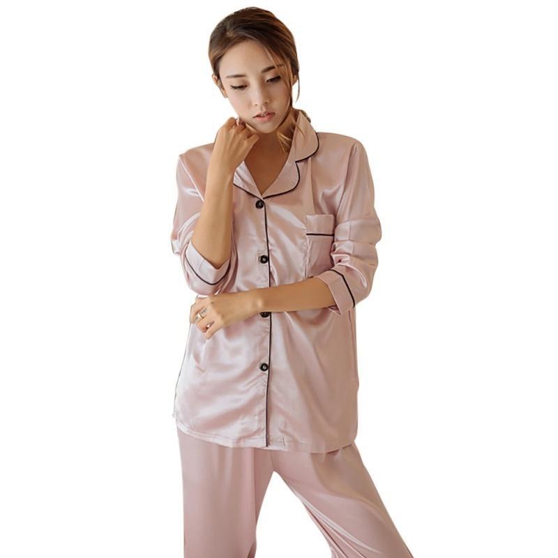 Sexy Silk Satin Pajamas Set Women Long Sleeve Sleepwear Pajamas Suit Female  Two Piece Sleepwear Nightwear P4 S1015 Lady Nightwear Lingerie Pvc From  Ruiqi06 48535811b