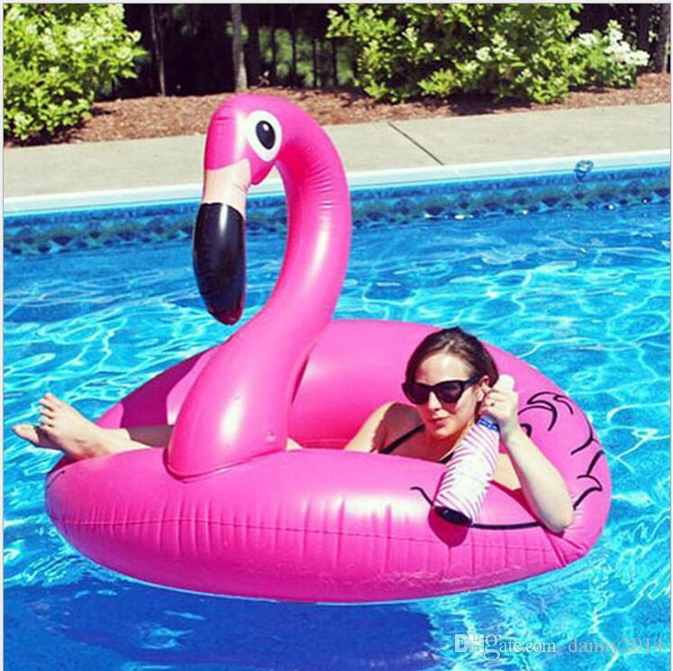 Flamingo Swimming seat Ring 90cm Colchón inflable flotador Mat Air Buoy Swim Circle Beach Juego de agua Deportes Piscina Juguetes