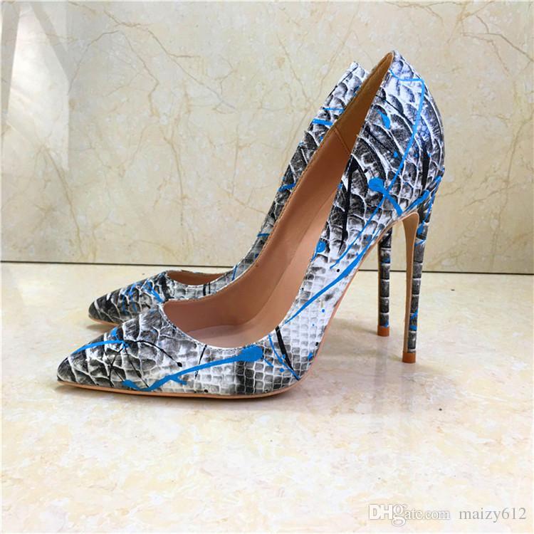 b496edc0280 2018 Europe New Blue Splashing Ink Snakeskin Pointed Toe Stiletto Heels  Fashion Sexy Shallow Mouth Women s shoes Pumps Big Size 43 44