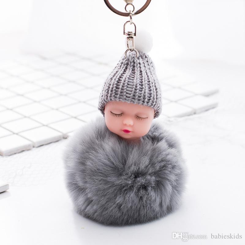 Sleeping Baby Key Chain Doll Accessories Fluffy Fur Pompom Rabbit Fur Ball Bunny key chain pompon Key ring Bag Accessories For Baby Gifts