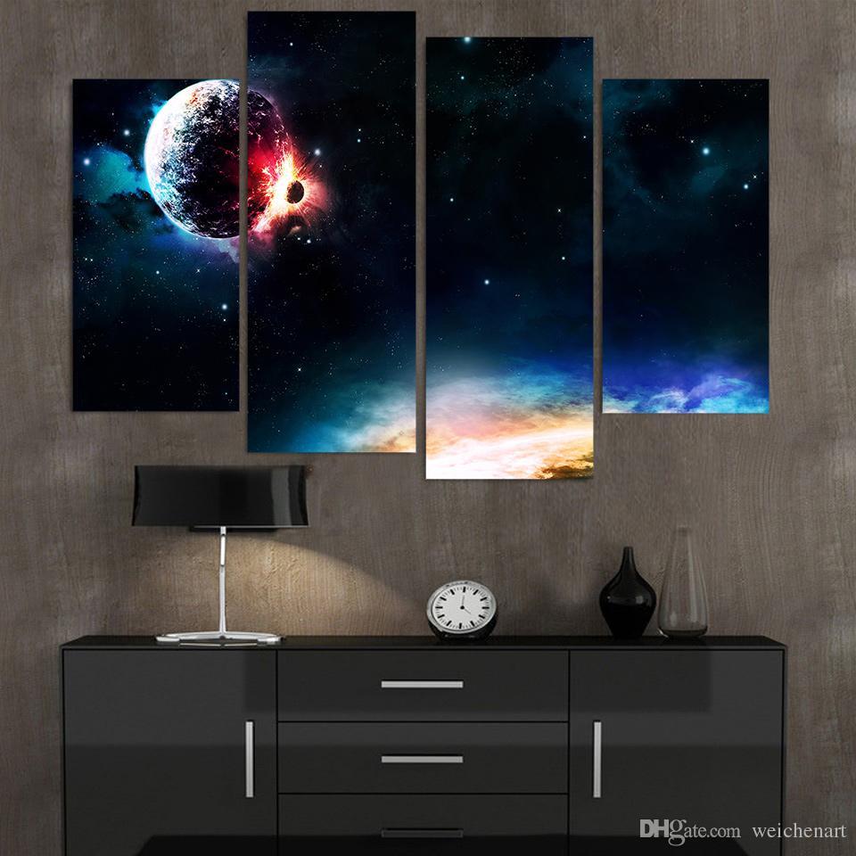 Salon Gezegen Çarpışma HD Baskılı Dekorasyonda Duvar Sanatı Ev Dekorasyonu Poster Resimler Boyama 4 Adet Tuval
