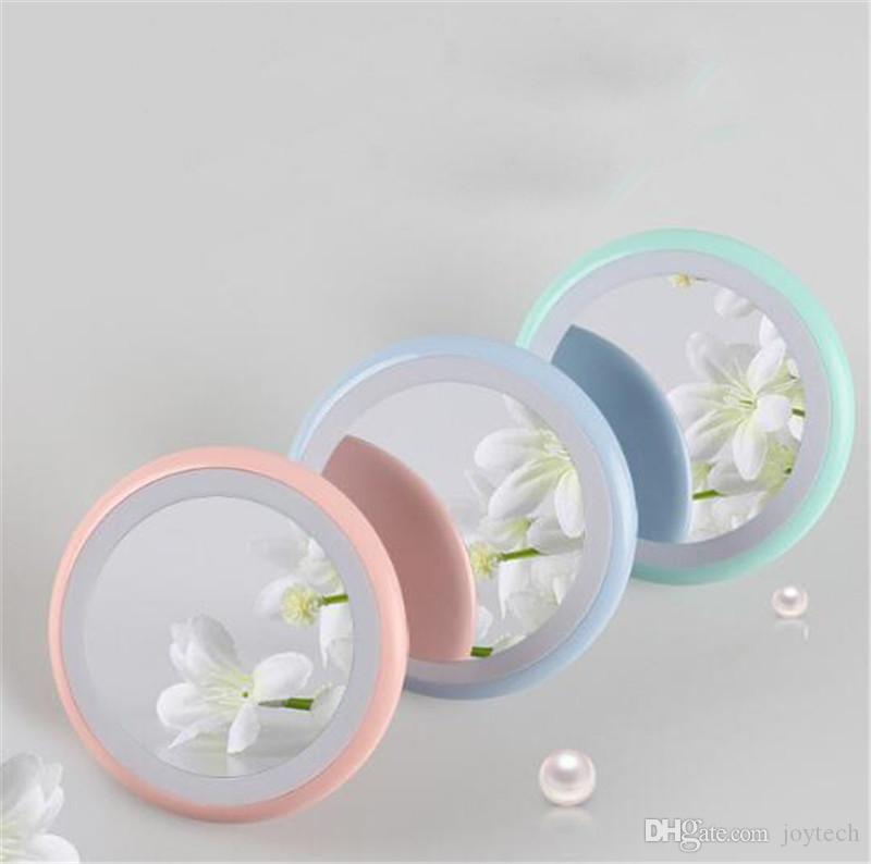 الصمام المحمولة قابلة للطي مرآة مستحضرات التجميل USB شحن مرآة ماكياج مع أضواء أدوات ماكياج مرآة الصمام مصباح دي إتش إل الحرة الشحن