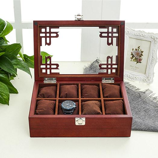 36 & Top 8 Slots Mdf Watch Storage Box Black Mens Mechancal Watch Display ...