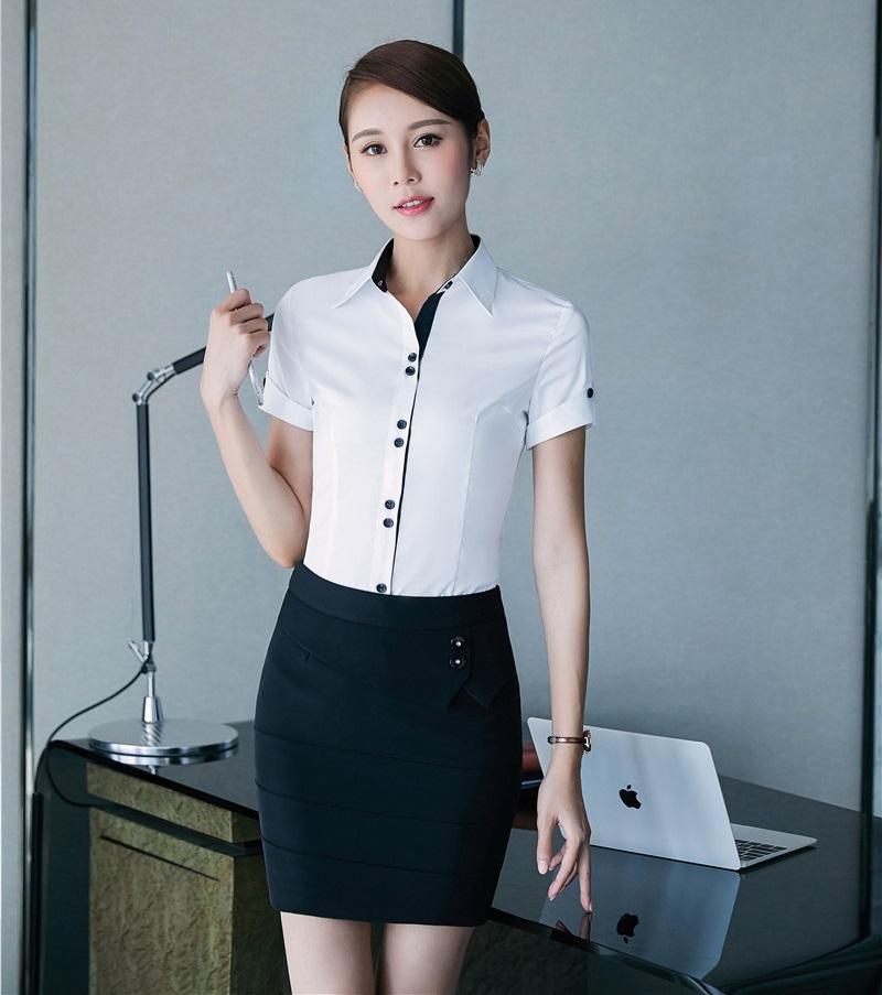 b49dc77924 Compre Formal Branco Blusa Mulheres Ternos De Negócios Com Duas Peças De  Saia E Top Define Escritório Senhoras Camisas De Manga Curta De Keviny