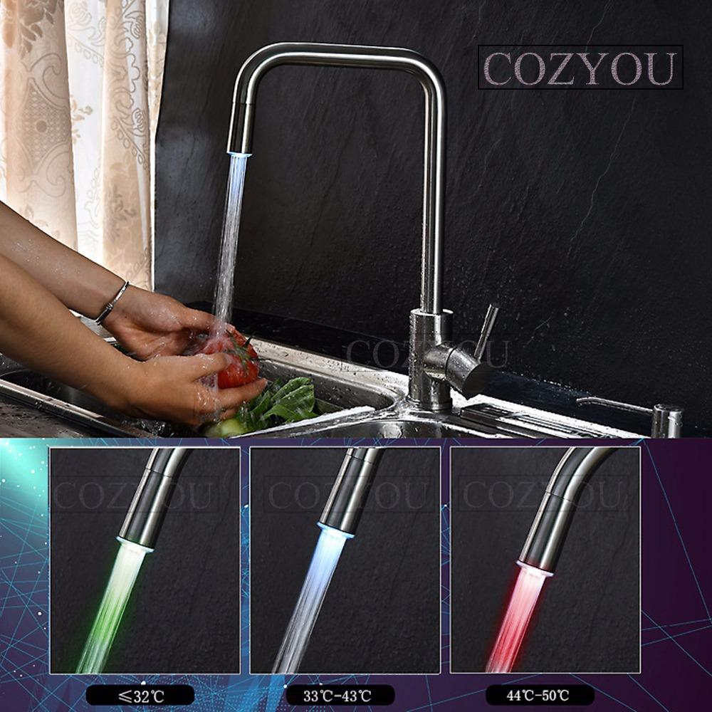 2018 Cozyou Led Sus304 Stainless Steel Kitchen Mixing Faucet ...