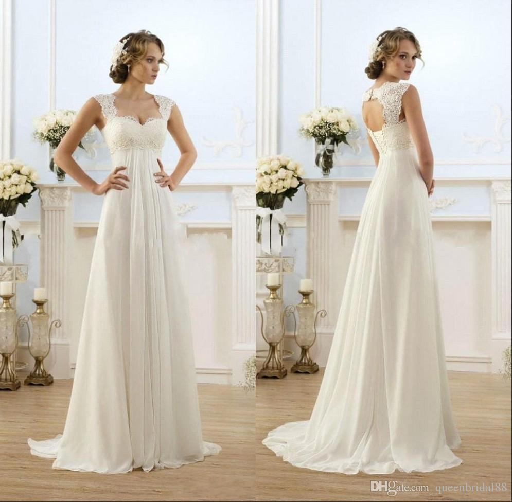 Empire cintura vestidos de noiva 2019 mangas cobertas de volta Vestidos de Novia longa varredura de uma linha chiffon vestidos nupciais