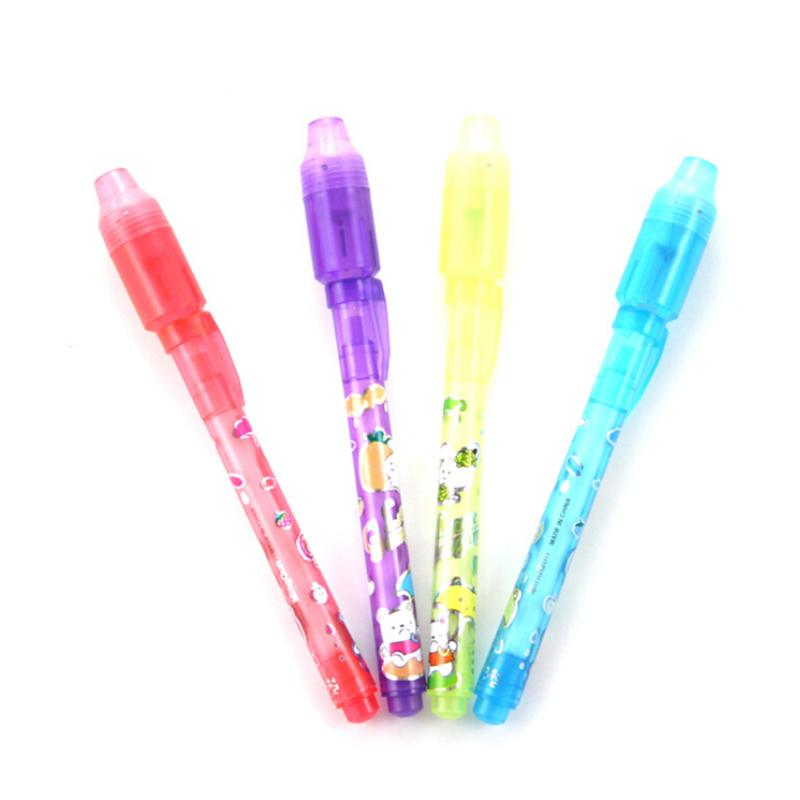 1PCS Random Color Cute Creative Stationery Magic 2 in 1 UV Black Light Combo Invisible Ink Pen Popular highlighter pens