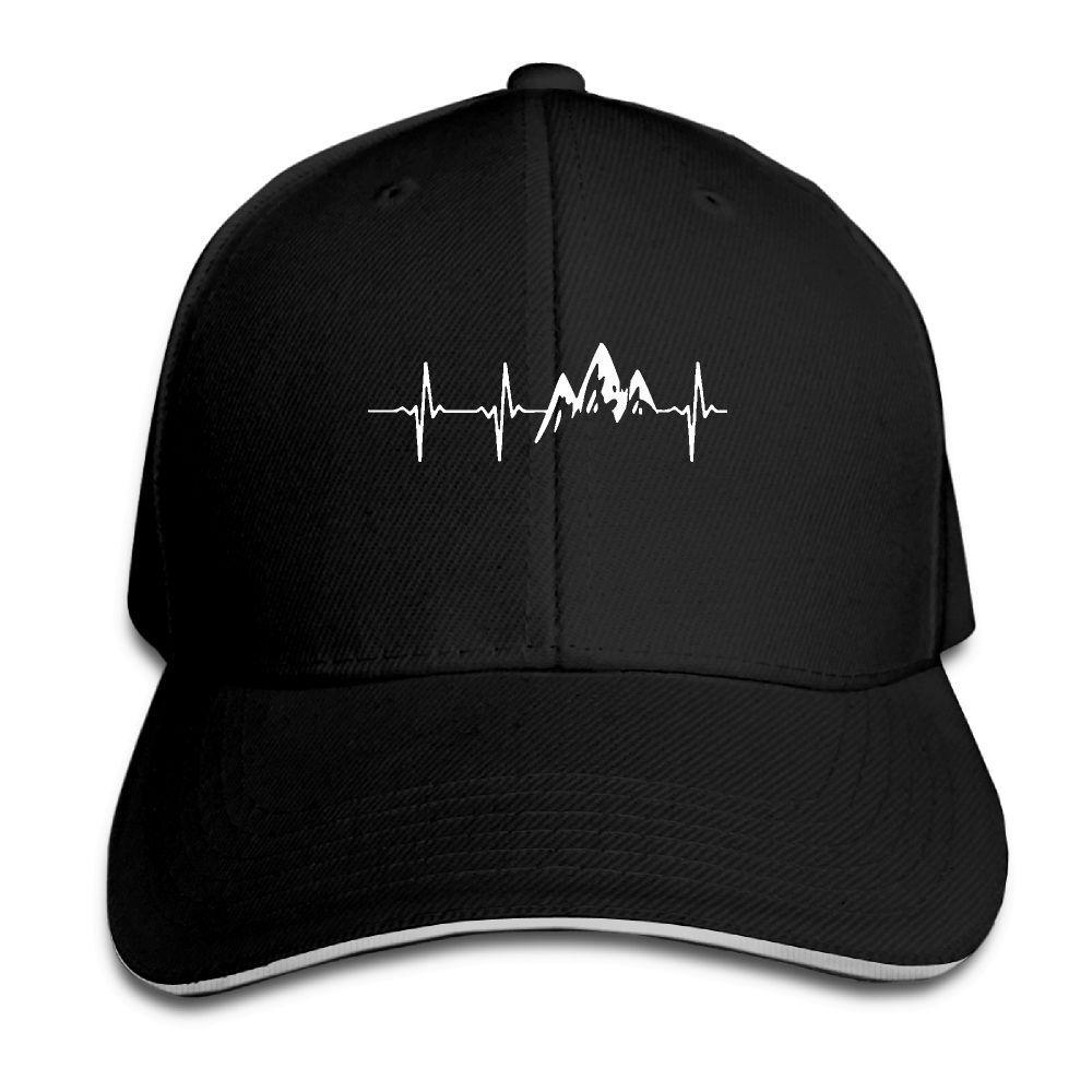 333495aa4d0 Baseball Cap Mountain Heartbeat Print Mens Womens Baseball Caps Adjustable Snapback  Caps Fashion Hats Man Femal Hat Trucker Hats Flexfit From Junemay