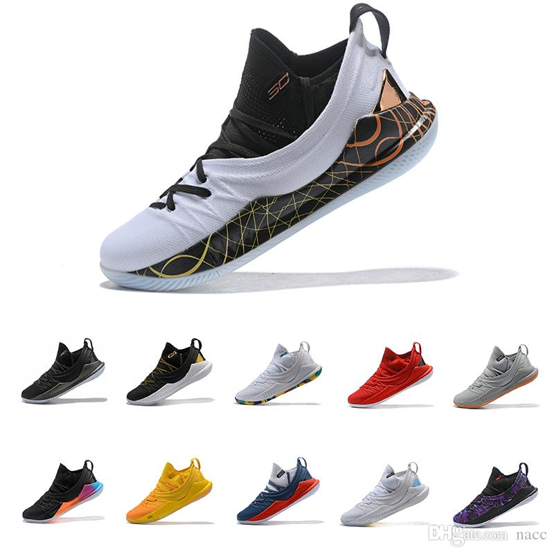 brand new 519a3 4b3c8 Acheter 2018 Top Stephen Curry 5 Chaussures De Basketball Steph Low Hommes Curry  5 Gold Championship MVP Finals Formateurs Runner Formation Sneakers Bottes  ...