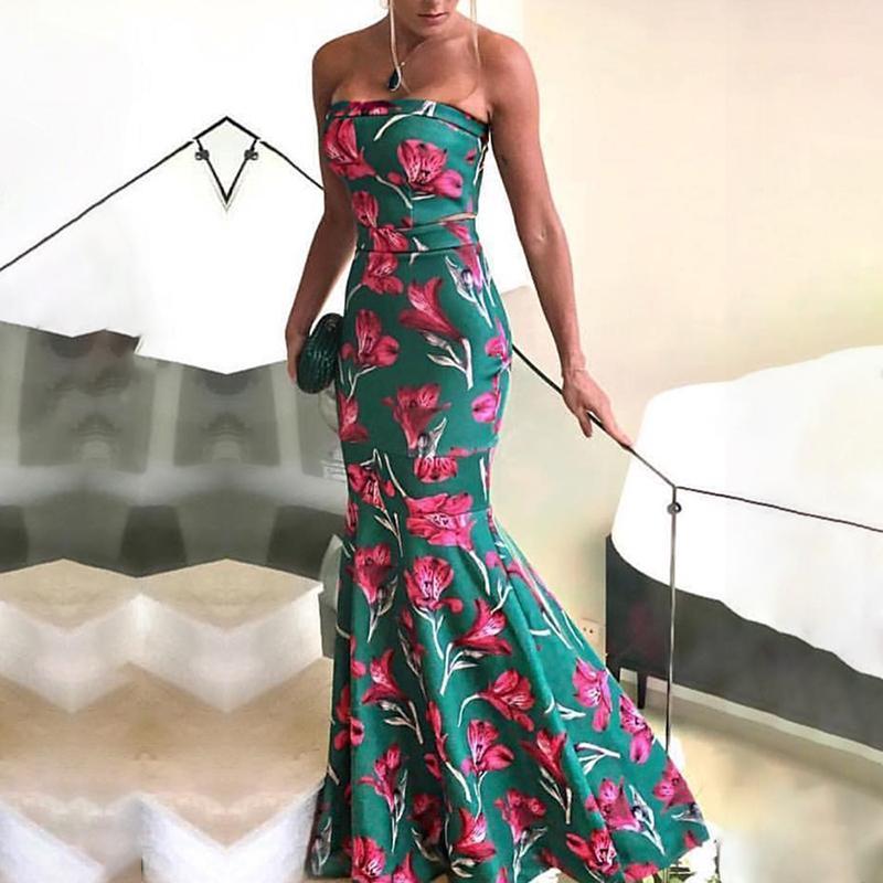 Compre Verano 2018 Mujeres De Moda Elegante Largo Trompeta De Baile Vestido  Maxi Femenino Sexy Forma Floral De Cola De Pescado Dobladillo Tubo Partido  ... eeebd8861bce