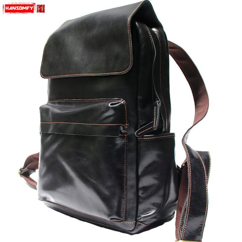 daa18e2707 Handmade Literary Men Backpacks Crazy Horse Leather Retro Men And Women 15  Inch Laptop Shoulder Bag Male Black Travel Bags Backpack Brands Rucksack  Backpack ...