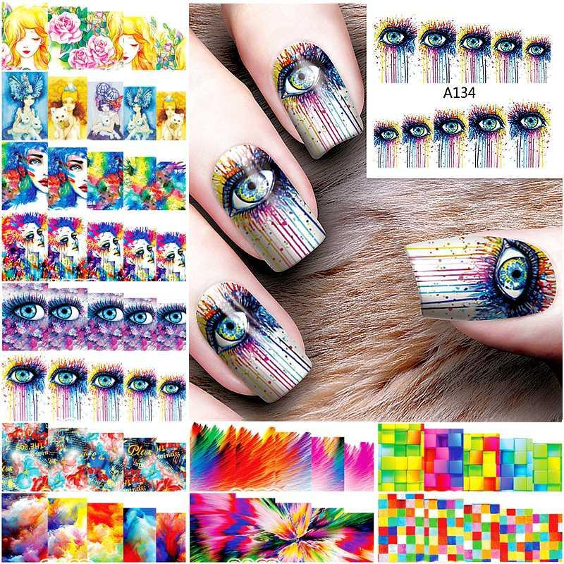 12 Sheets Cool Nail Sticker Water Decals For Nail Art Decorations