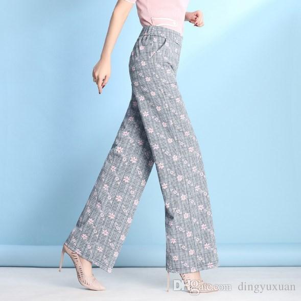 35e03c108cd2 Women s Plaid Print Wide Leg Pants Grey Plus Size Women Floral ...