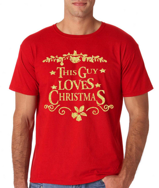 Frohe Weihnachten Männer Bilder.Frohe Weihnachten Dieser Mann Liebe Weihnachten Männer T Shirt Gold Glitter Alle Größen Rot
