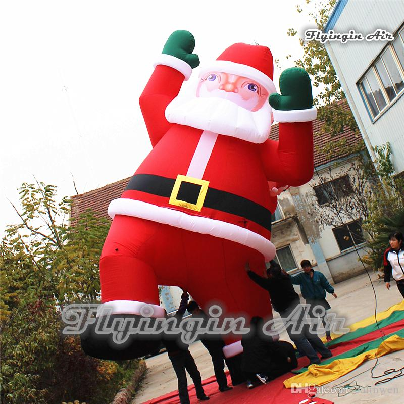 2018 outdoor christmas inflatable santa claus giant 6m height blow up climbing father christmas for building decoration from calmwen 125629 dhgatecom - Outdoor Blow Up Christmas Decorations