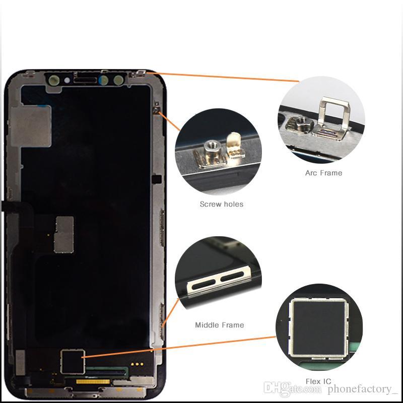 الصف A +++ LCD TFT تعمل باللمس عرض لفون X 3D LCD تعمل باللمس محول الأرقام الجمعية الأسود الكامل استبدال شاشة LCD للآيفون 10