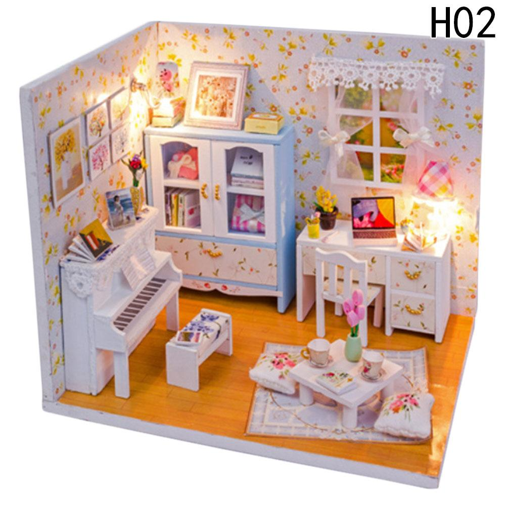 wholesale baby room home decoration doll house model furniture diy 3d puzzle kit wooden paper toy valentineu0027s day gift wood barbie dollhouse kits decorating furniture with paper65 furniture