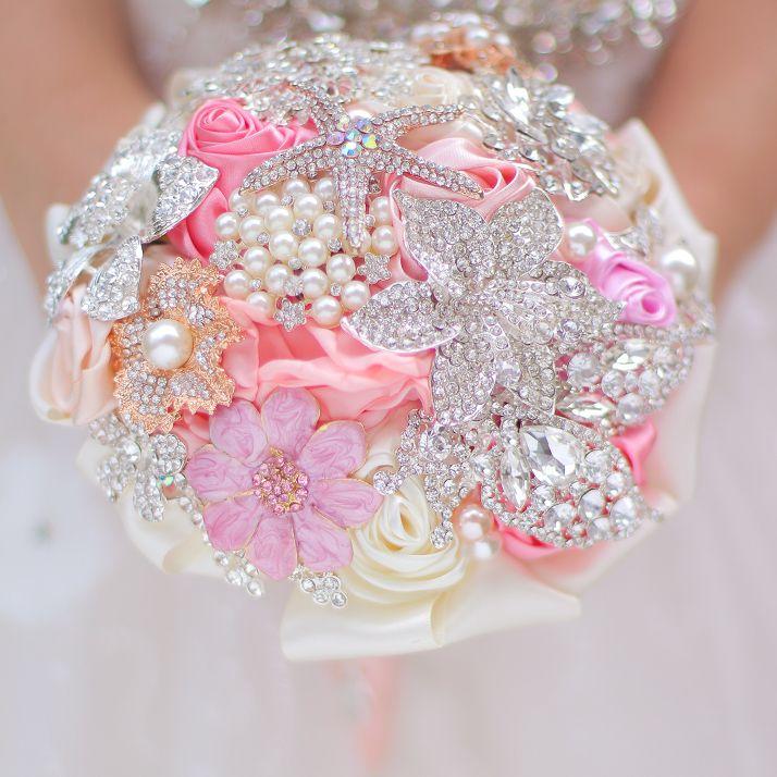 Iffo Nem Mini Bridal Bouquet Pink Coral 5 Inch Brooch Bouquet