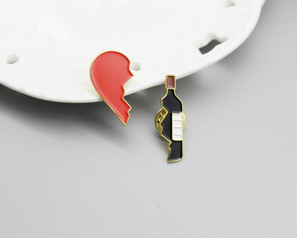 مصمم 2 قطعة / المجموعة كسر القلب زجاجة النبيذ بروش لطيف المعادن الأحمر الأسود المينا دبابيس دبابيس صالح الدينيم سترة حقيبة دبوس شارة مجوهرات هدايا