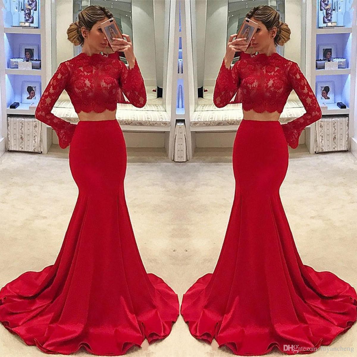 41ad36933a6e Acquista 2018 Glamorous Mermaid Abiti Da Sera Lunghi 2018 Sexy Collo Alto  Maniche Lunghe 2 Pezzi Pizzo Rosso Vestito Da Promenade Formale Abiti Da  Sera ...
