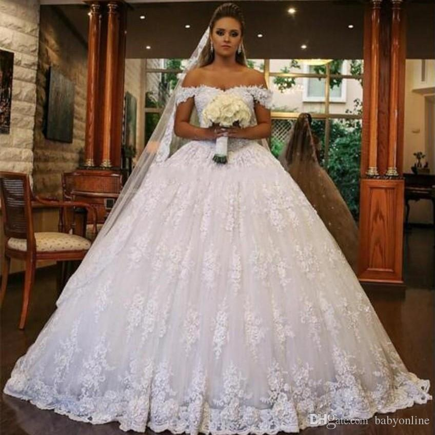 a71da7309c0 Full Lace Ball Gown Wedding Dresses 2018 Plus Size Vestidos De Novia Off  Shoulder Appliques Ruched Long Puffy Bridal Gowns Arabic Dresses With  Sleeves Gown ...