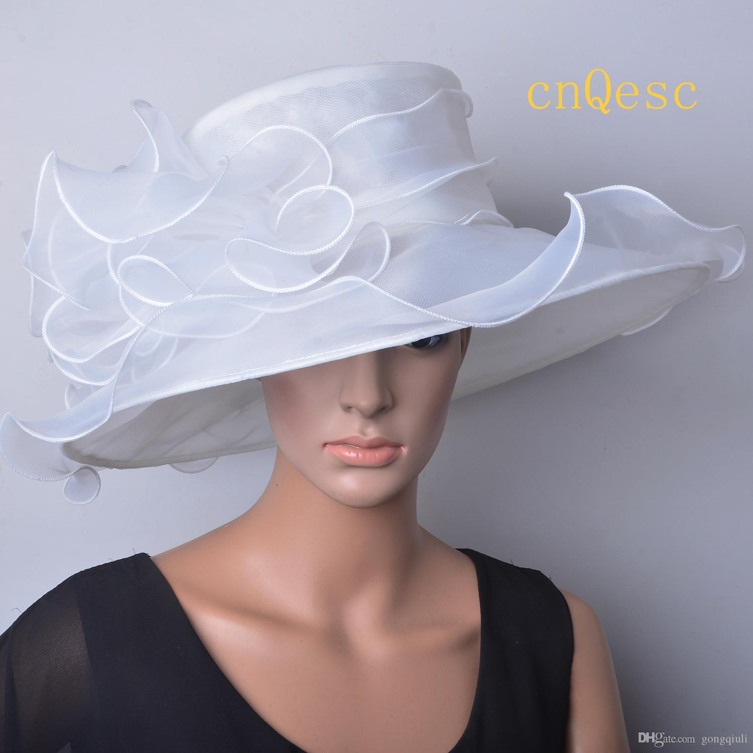 Cappello in organza avorio Cappello donna Derby Kentucy Cappello da sposa matrimonio chiesa derby.brim larghezza 13,5 cm.