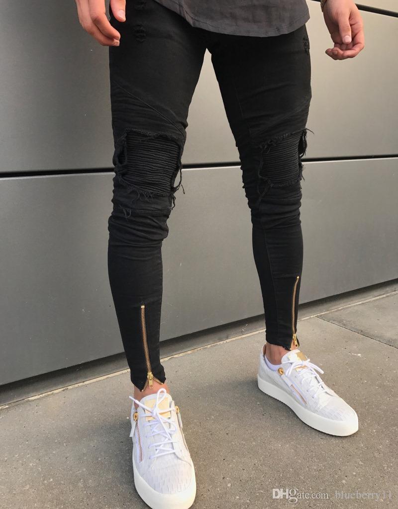 Bestseller einkaufen Geschicktes Design große Auswahl an Designs Designer Herren Ripped Biker Skinny Jeans Schwarz mit Zipper Slim Fit  Stretch Hip Hop Denim Jeans Hose