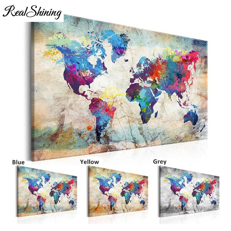 "wholesale 5D DIY Diamond Painting Handicraft Cross Stitch ""World Map""Full Square Diamond Embroidery sale of pictures FS2283"