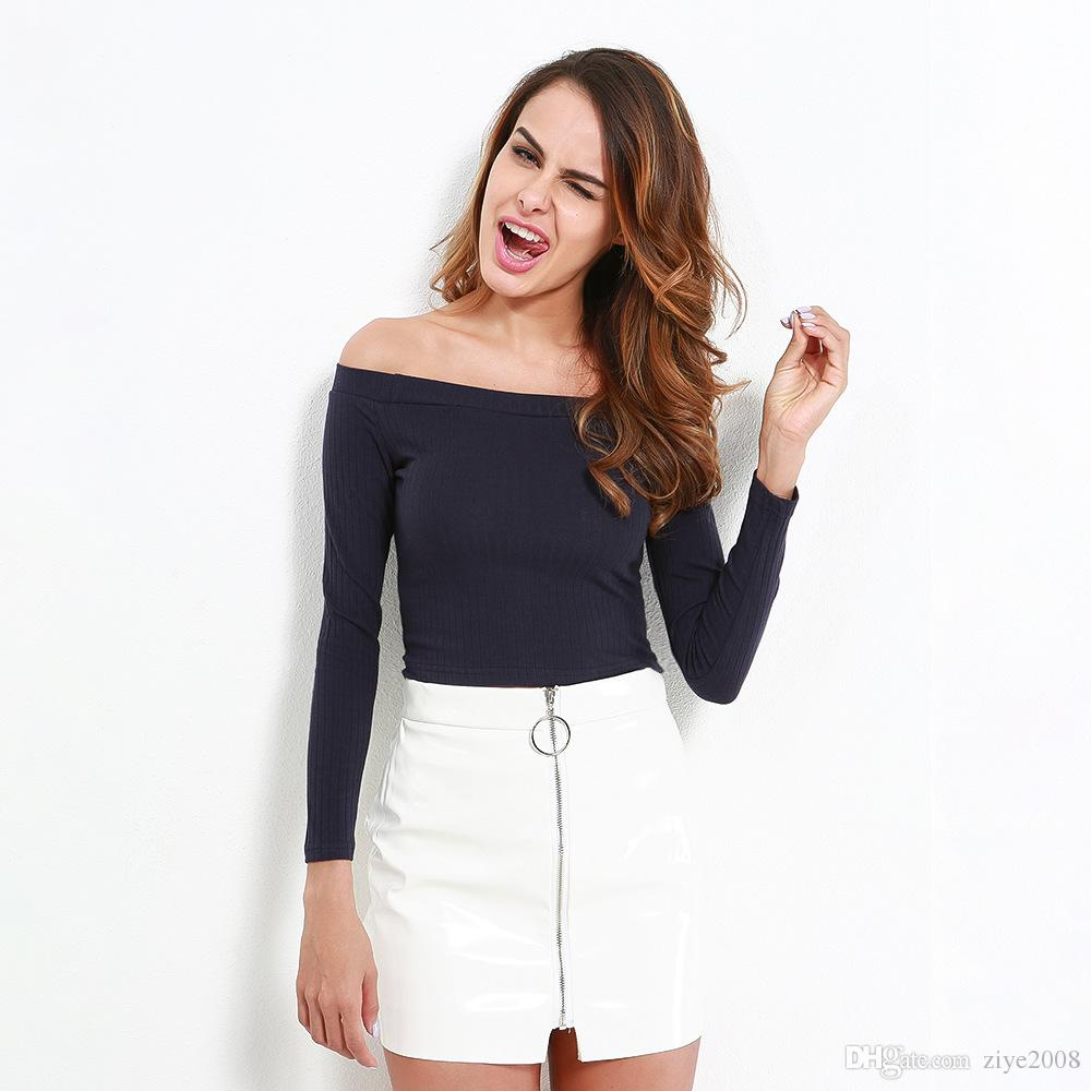 b6014badfa708f 2019 Golds Hands Fashion Women Spring Summer Sexy Off Shoulder Cropped Tops  Slash Neck Fitness Knitted Solid Sweater Skinny Short Sweet Skirt From  Ziye2008