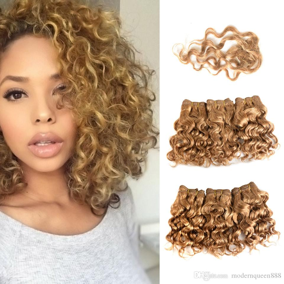 8inch Short Blonde Human Hair Extensions Deep Curly Water Wave