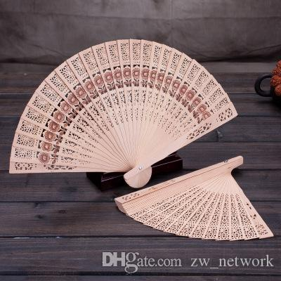 DHL Custom Chinese Sandalwood Scented fans Wooden Openwork craft fan personal Hand Held Folding Fans for Wedding gift Birthday Home Decor