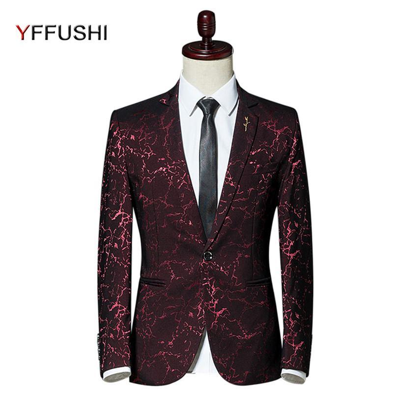 info for e9620 9a0cc Giacca da uomo YFFUSHI 2017 Giacca rossa Jacquard Blazer Masculino Giacche  eleganti da uomo Casual Slim Fit Fashion Design Plus 5XL