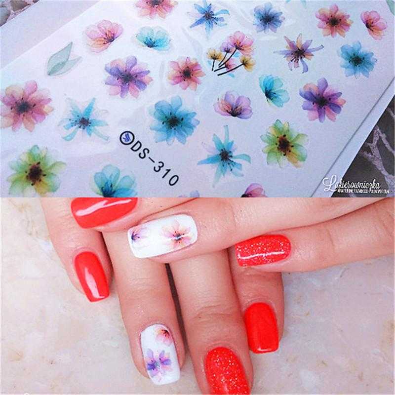 1 Sheet Colorful Nail Art Water Decals Chinese Ink Painting Nail