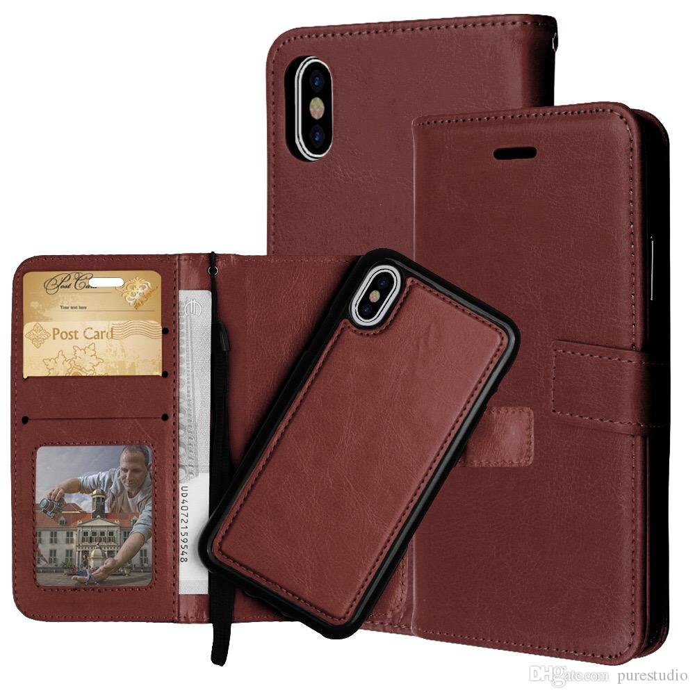 best service 44776 68490 For New Iphone 9 6.1 6.5 PU Leather Wallet Case with Card Slots Flip Cover  with Strap for iphone plus