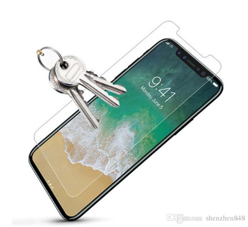 il nuovo iPhone 2018 Proteggi schermo in vetro temperato iPhone X 8 iPhone 7 7 Plus Edition Film 0.33mm 2.5D 9H Pacchetto carta antisfondamento